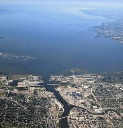 Aerial View - Fox River into the Bay of Green Bay - square